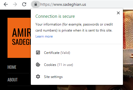 Chrome is showing a lock in the address bar which indicates the existence of HTTPS