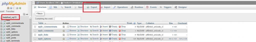 Export database using phpMyAdmin