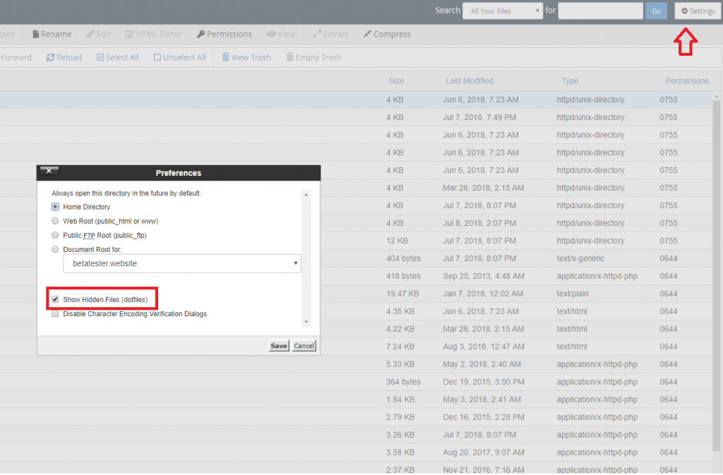 Show hidden files in CPanel file manager